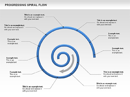 progressing spiral flow chart for presentations in powerpoint and, Powerpoint templates