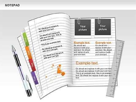 Notepad Shapes and Diagrams Presentation Template, Master Slide