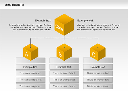 Organizational Chart with Cubes Presentation Template, Master Slide