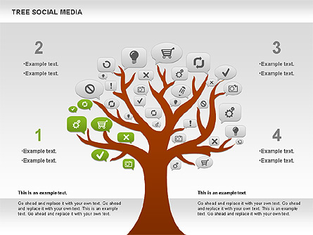 social media tree diagram for presentations in powerpoint and    social media tree diagram presentation template  master slide