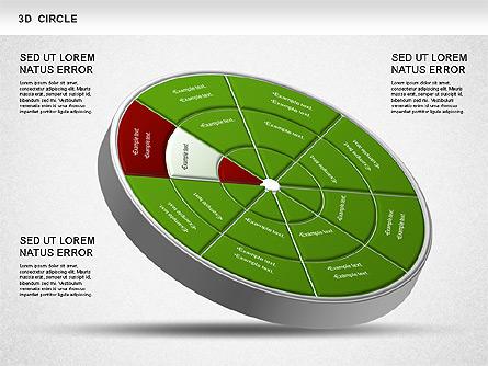 3D Segmented Wheel Diagram Presentation Template, Master Slide