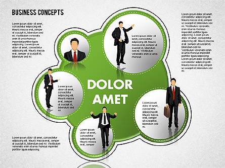 Business Illustrations with Silhouettes Presentation Template, Master Slide