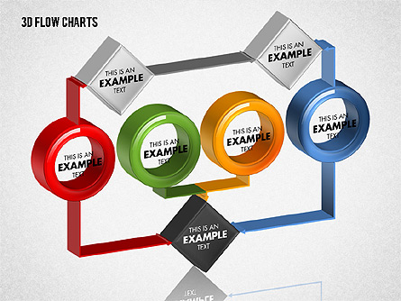 3D Flow Charts with Circles Presentation Template, Master Slide