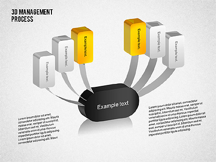 3D Management Process Flowchart Presentation Template, Master Slide
