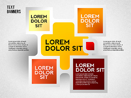 Text Banners with Shadow Presentation Template, Master Slide