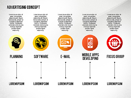Advertising Process Concept Diagram Presentation Template, Master Slide