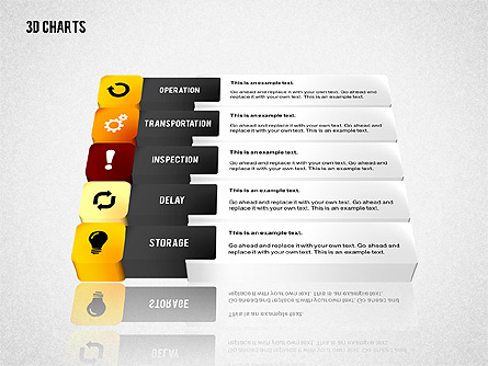3D Process Flow Chart Presentation Template, Master Slide