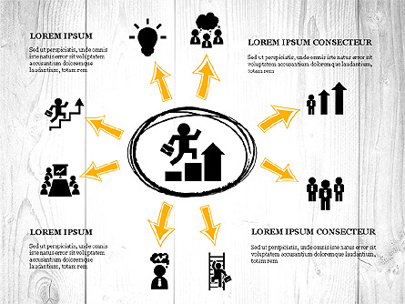 Process Presentation with Business Silhouette Shapes Presentation Template, Master Slide