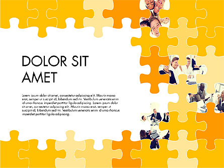 Yellow Puzzle Frame Presentation Concept Presentation Template, Master Slide