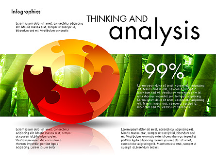 Data Driven Report with Puzzled Donut Shape Presentation Template, Master Slide