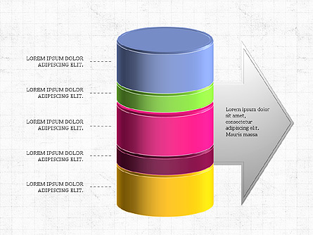 3D Stacked Cylinder Diagram Presentation Template, Master Slide