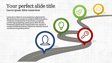 Roadmap with Icons Presentation Template, Master Slide