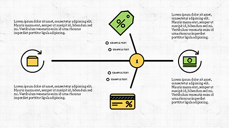 Fishbone Diagram with E-Commerce Icons Presentation Template, Master Slide