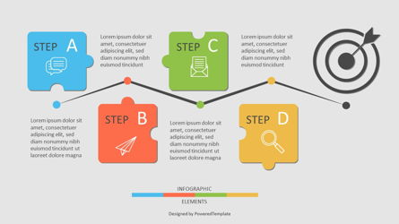 Four Puzzle Step Goal Infographic Presentation Template, Master Slide