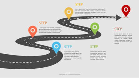 Road Way Infographic with Options Presentation Template, Master Slide