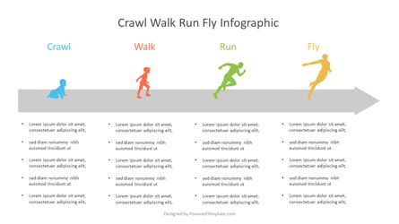 Crawl Walk Run Fly Maturity Diagram Presentation Template, Master Slide