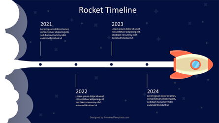 Rocket in Space Timeline Presentation Template, Master Slide
