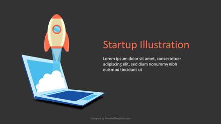 Startup Slide with Rocket Launch Presentation Template, Master Slide