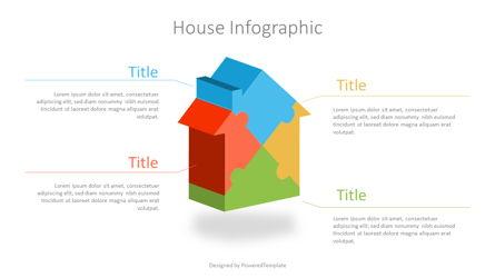 Puzzle House Four Piece Volumetric Infographic Presentation Template, Master Slide