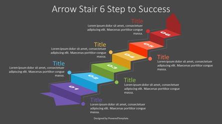Arrow Stair 6 Step to Success Diagram Presentation Template, Master Slide