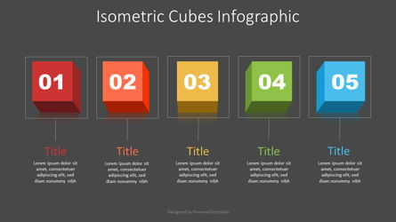 Isometric Cubes Infographic Presentation Template, Master Slide