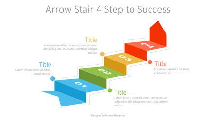 Arrow Stair 4 Step to Success Diagram Presentation Template, Master Slide