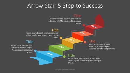 Arrow Stair 5 Step to Success Diagram Presentation Template, Master Slide