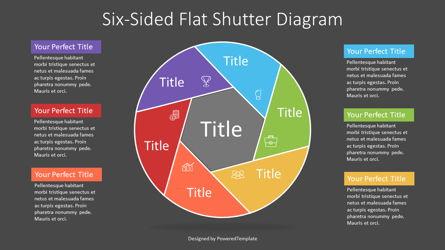 Colorful Six Sided Flat Shutter Diagram Presentation Template, Master Slide