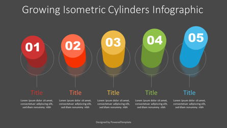 Growing Isometric Cylinders Infographic Presentation Template, Master Slide