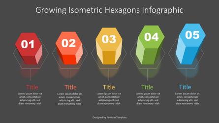 Growing Isometric Hexagonal Prisms Infographic Presentation Template, Master Slide