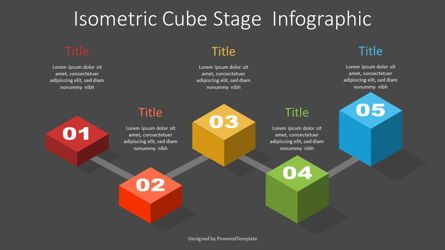 Isometric Cube Stage Infographic Presentation Template, Master Slide