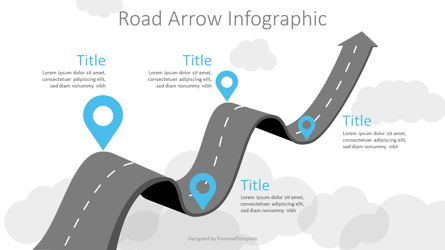 Arrow Roadmap Goes to Sky Presentation Template, Master Slide