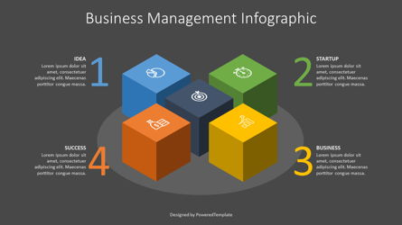 Business Infographics Cube Presentation Template, Master Slide