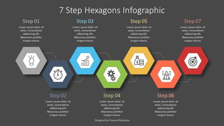7 Step Hexagon Infographic Presentation Template, Master Slide