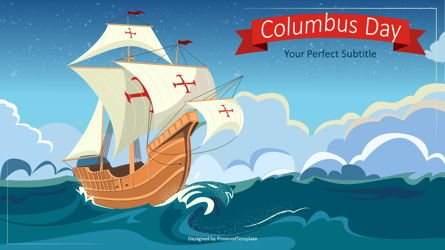Happy Columbus Day Concept Presentation Template, Master Slide