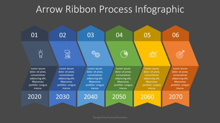 Arrow Ribbon Process Infographic Presentation Template, Master Slide