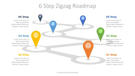 6 Step Zigzag Roadmap Presentation Template, Master Slide