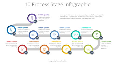 10 Process Stage Diagram Presentation Template, Master Slide