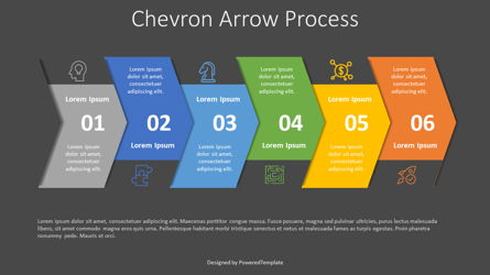 Chevron Arrow Process Diagram Presentation Template, Master Slide