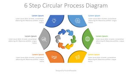 6 Step Circular Process Diagram Presentation Template, Master Slide