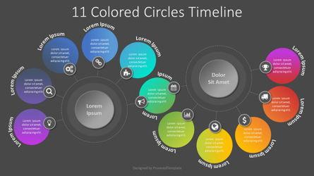 11 Colored Circles Timeline Presentation Template, Master Slide