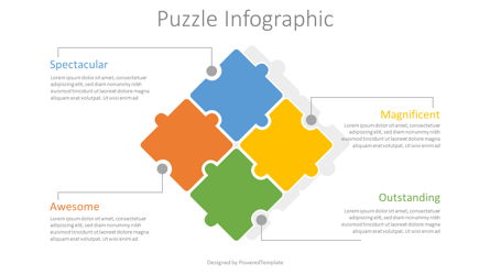4 Puzzle Pieces Infographic Presentation Template, Master Slide