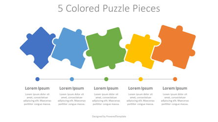 5 Colored Puzzle Pieces Presentation Template, Master Slide
