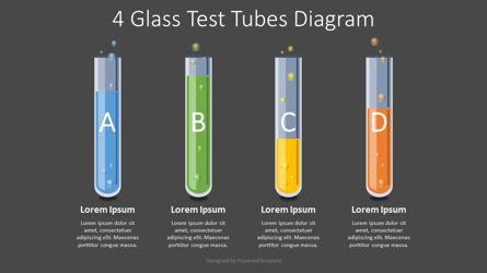4 Glass Test Tubes Diagram Presentation Template, Master Slide