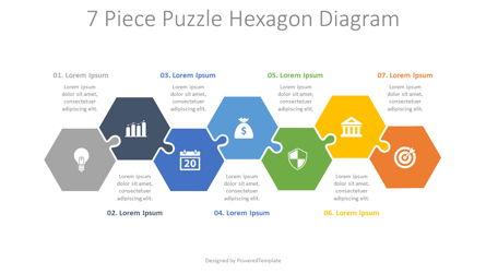 7 Piece Puzzle Hexagon Diagram Presentation Template, Master Slide