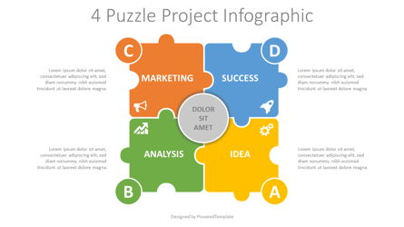 4 Puzzle Project Infographic Presentation Template, Master Slide