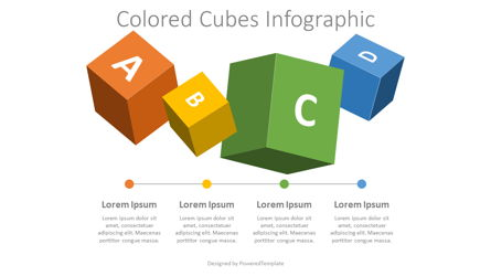 4 Colored Cubes Infographic Presentation Template, Master Slide