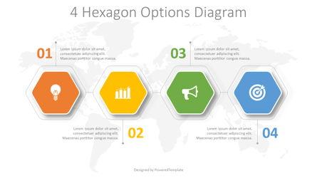 4 Hexagon Options Diagram Presentation Template, Master Slide