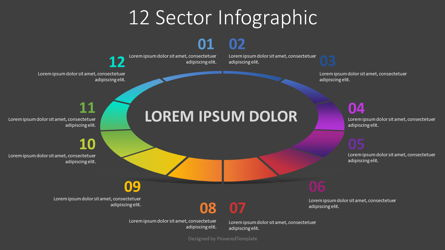12 Sector Infographic Presentation Template, Master Slide