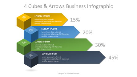 4 Cubes and Arrows Business Infographic Presentation Template, Master Slide